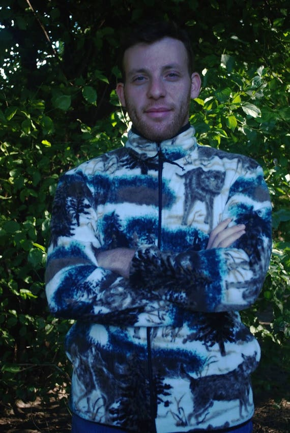 ZooFleece Wolf Fleece Jacket Blue Snow Wolf Lover Gift Ugly Sweater Unisex Funny Sweater Christmas xmas nHxoJIDA