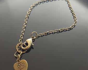 PAW handstamped heart charm antiqued brass chain bracelet
