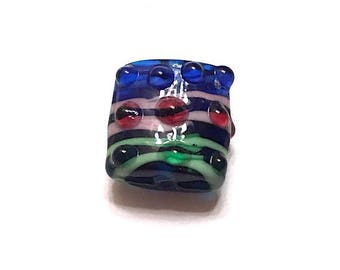 10 pieces 17mm Lampwork Glass Beads, Square, Striped, Blue, Green, Purple Beads