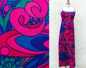 Vintage 60s Psychedelic Maxi, Long Cotton Hot Pink and Blue Spaghetti Strap Dress, Free shipping