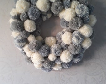 Large handmade pom pom wreath