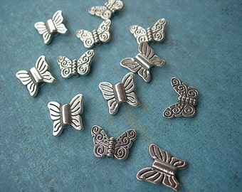 BUTTERFLY BEADS in Silver Assortment Lot of 12 in 2 styles