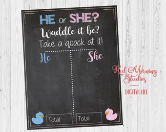 Duck Gender Reveal Guess sign. PRINTABLE He or She Waddle it Be baby shower chalkboard poster boy or girl