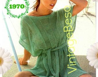 DIGITAL PATTERN • Coverup Knitting PAtTERN • PdF Pattern • Dusty Green Wide Rib Cover-Up  • Vintage 1970s Top Knitting Pattern