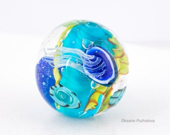 Glass lampwork bead with jelly fish, Medusa bead, lampwork focal bead with medusa,  glass blowing, glassworks, Aquarium glass  beads