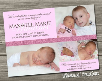 Baby Girl Birth Announcement (Digital File) Maxi - I Design, You Print