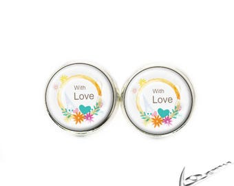 """Silver metal chip """"With Love"""""""