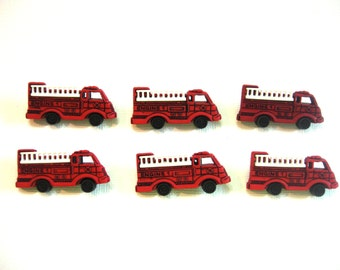 Red Fire Truck Buttons Jesse James Buttons Ready to Roll Dress It Up Buttons Set of 6 Shank Back - 11 B