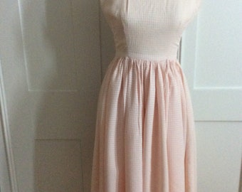 1950's Vintage Pale Pink Check Dress by Remarque