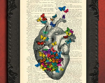 heart with colorful butterflies dictionary art print ephemera heart butterfly print