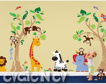 Jungle Safari Wall Decals Animals and Birds - Tropical Heaven Large Wall Stickers - PLJN060