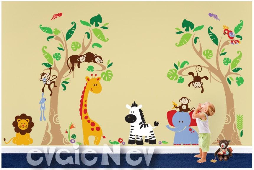 Terrific Tropical Heaven Jungle Safari Wall Decals with