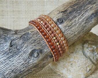 Orange Gemstone Wrap Bracelet: Carnelian, Goldstone, Aventurine, 3 Wrap Bracelet, 3rd Anniversary, Gift for Her, Crystal Healing