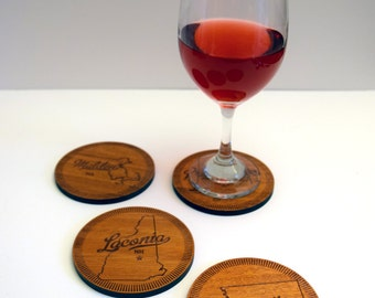 Personalized US City and State Coasters - Set of 4