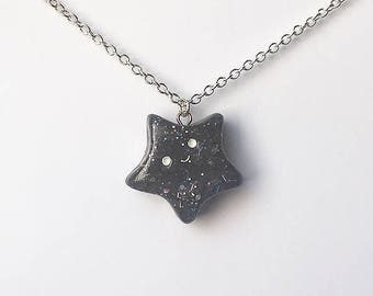 Kawaii Glitter Star, Polymer Clay Jewelry, Handmade Clay Necklace