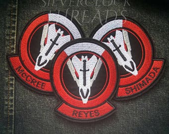 Personalised Overwatch Blackwatch patch - sew-on name tag shoulder Reaper inspired embroidery -  9 cm / 3.5 in - costume and cosplay prop