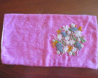 Pink wool embroidered hot water bottle or wheatpack cover