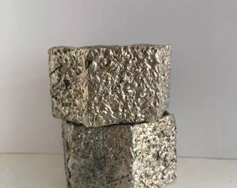 brutalist art napkin rings  modernist rough finish
