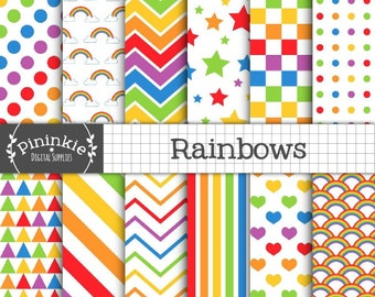 Rainbow Digital Paper, Candy Stripe Digital Papers, Digital Scrapbooking Paper, Decoupage Paper, Instant Download, Commercial U