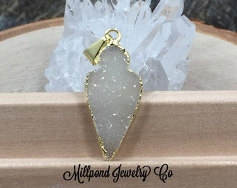 Arrowhead Pendant,  Arrowhead Druzy Pendant, 18K Gold Plated Pendant, Druzy, Only One of Each Available, Natural, PG0919M
