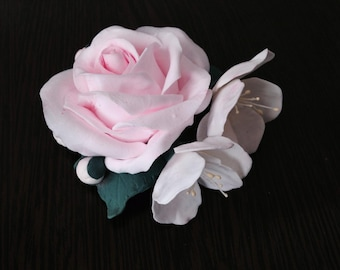 Brooch hairpin rose and apple tree