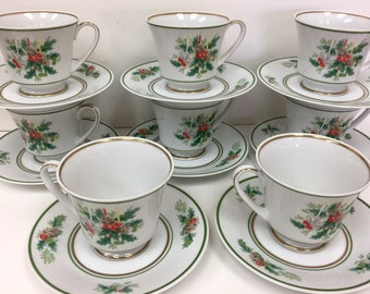 """Noritake """"Holly"""" (8) Footed Cups & Saucers Sets"""