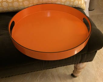 "Beautiful Orange Lacquer Tray Equestrian Inspired Orange and Espresso Brown 15"" Round Bar Tray"