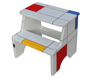 Mondrian, Painted Step Stool, Step Stool Chair, Step Stool For Kids, Step
