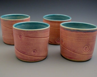 Set of four textured tumblers - purple and blue