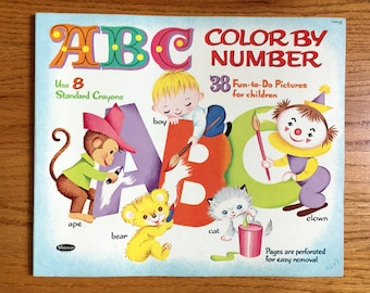 Rare Vintage Whitman ABC Color by Number Coloring Book 1963 Only One Page Colored, Retro Mid Century Illustrations, Childrens Activity Book