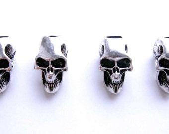 4 Skull Punk Silver Metal Dreadlock Beads Set for Necklace Pendant, Bracelet or any DIY Beading Craft