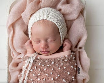 Lambswool Newborn Bonnet - Knit Bonnet - Newborn Bonnet - Neutral Bonnet - Photo Prop Angora Lambswool