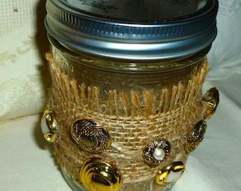 Fringe-Edged Burlap, Twine-Wrapped, Button Adorned Mason Jar - Wedding Decor