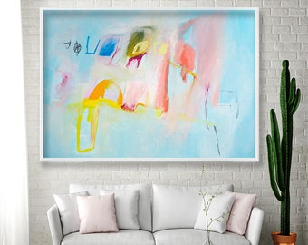 Abstract Art BLUE print of abstract painting Pastel Painting Large art light blue with pink yellow, cool modern funky art by Duealberi
