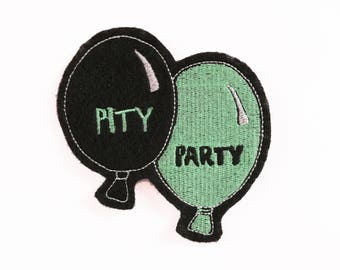 Pity Party Balloons Sad patch Embroidered applique 3.5 inches for your denim jacket drawing illustration black turquoise
