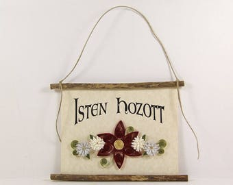 Isten Hozott, Hungarian Welcome, Paper Quilled Welcome Sign, 3D Quilled Banner, Red White Light Grey Decor, Hungary Gift, Rustic Wall Decor