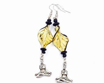 Unique Yellow Yoga Lady // Meditation Dangle Earrings