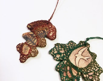 Fall Leaf Necklace, Lace and Pottery Necklace, Unique Handwoven Textile Jewelry, Swift
