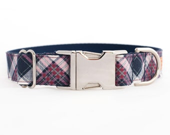 Plaid Dog Collar for Girls - Silver Buckle or Half Check Chain Martingale Collar - Navy and Pink Plaid - Shabby Chic - Nylon Dog Collar
