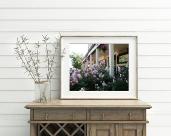 Watercolor Art Print - Summer Pink Flowers Front Porch Watercolor Fine Art Prints, Country French Farmhouse Style Decor Cottage Artwork