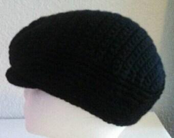 Woman's Crochet Black Kangol Hat