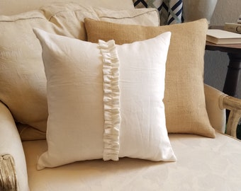 Off-White Linen Pillow Cover with Center Ruffle Accent