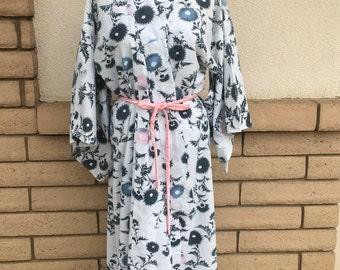 Long Japanese Kimono Robe with Dandelion Print