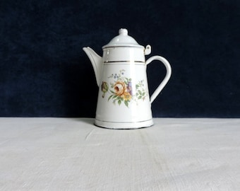 Vintage French enamel coffee pot with roses and forgetmenots