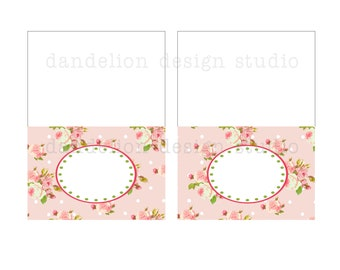 PRINTABLE Fancy Tent Tags - Bright Shabby Chic Party Collection - Dandelion Design Studio