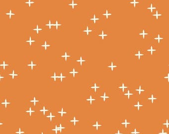 Orange Fabric- Birch Organic Cotton Fabric - Mod Basics - Wink Orange - Quilting Fabric - Pluses - Celebration Fabric - Wink Pumpkin