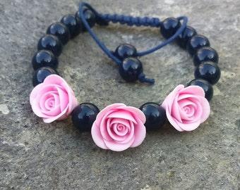 Pink flower bracelet Navy beaded bracelet Macrame bracelet Christmas gift Bridesmaid bracelet Shamballa bracelet Royal blue flower jewelry