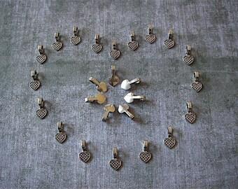 25 New Tibetan Silver Bails - Silver- Flat Pad Bails (TSB)