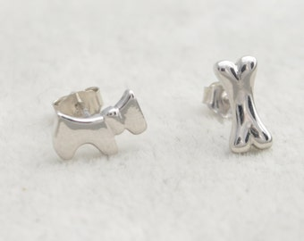 Sterling Silver Scottie Dog Scottish Terrier and Bone Mismatched Stud Earrings e14
