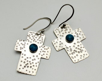 Sterling Silver Textured Cross Earrings with Turquoise Cabochon